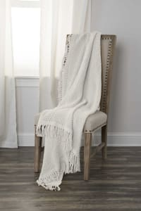 "White Solid Woven 50"" x 60"" Throw - White - Back"