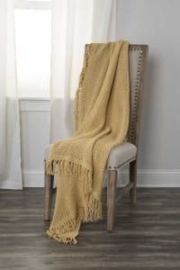 """Yellow Solid Woven 50"""" x 60"""" Throw - Yellow - Back"""