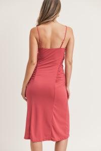 Kelli Ruched Dress - Claret Red - Back