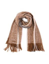 Scarf with Tassels - Tan / Grey - Back