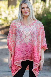 Taneesha Embroidered Tunic Top - Coral - Back
