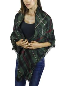 Plaid Blanket Wrap - Green / Multi - Back