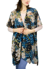 Floral Kimono With Metallic Spackle - Teal - Back