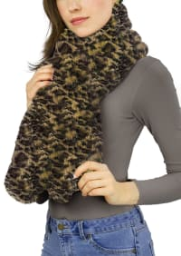 Faux Mink Pull Through Scarf - Leopard - Back