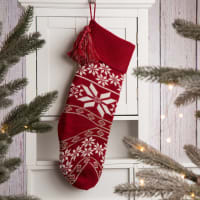 Knit Snowflake Stocking - Red - Back