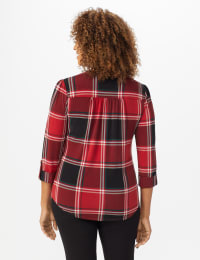 Roz & Ali Red and Black Plaid Pintuck Popover  - Misses - Red-Black - Back
