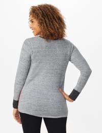 Westport Color Block Hacci Twist Front Top - Misses - Multi - Back