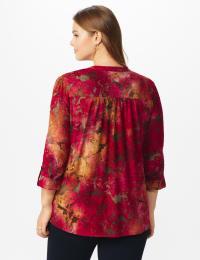 Wine Tie Dye Floral Jacquard Popover - Plus - Wine - Back