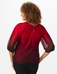 Roz & Ali Red Ombre Glitter Bubble Hem Blouse - Petite - Red - Back