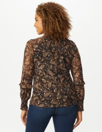 Roz & Ali Foil Paisley Smocked Neck Blouse - Taupe/Gold - Back