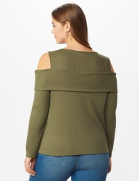 Cold Shoulder Knit Top - Plus - Light Olive - Back