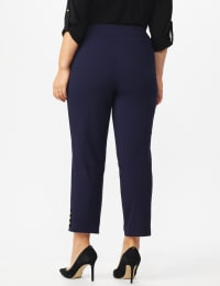 Plus Roz & Ali Tummy Control Pull On Ankle Pant with Gold Barrel Trim - Plus - Back