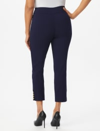 Roz & Ali Tummy Control pull on ankle pant with gold barrel trim at hem - Misses - Navy - Back