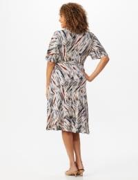Wrap Brush Stroke Midi Dress - Back