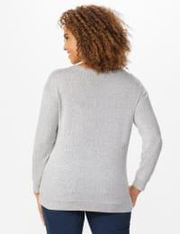 DB Sunday Cascade Sequin Hacci Sweater Knit Top - Light Grey - Back