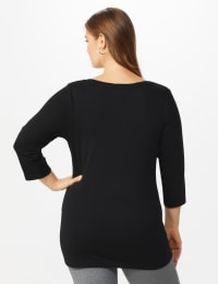 DB Sunday Snowflake Glitter Knit Top - Plus - Black - Back