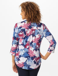 Denim Floral Pintuck Popover - Misses - Denim - Back