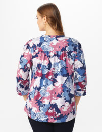 Denim Floral Pintuck Popover - Plus - Denim - Back