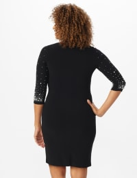 Bead and Pearl Embellished Dress - Misses - Black - Back