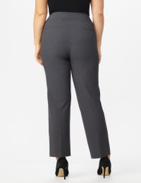 Roz & Ali Plus Secret Agent Tummy Control Pants Cateye Rivets - Average Length - Plus - Grey - Back