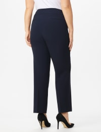 Roz & Ali Plus Secret Agent Tummy Control Pants Cateye Rivets - Average Length - Plus - Navy - Back