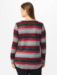 DB Sunday Lace Up Stripe Hacci Knit Top - Plus - Back