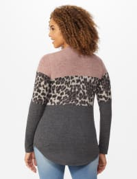 Westport Animal Mix Media Hacci Top - Dusty Pink - Back