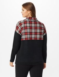 Westport Hacci Sweater Knit Color Block Top - Plus - Red/Black - Back