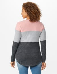 Westport Sweater Knit Color Block Top - Pink/Grey - Back