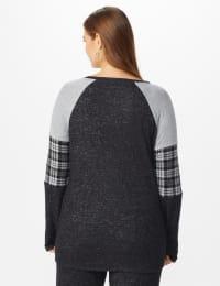 Westport Hacci Sweater Twist Front Top - Plus - Black - Back