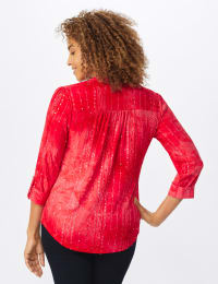Roz &  Ali Red Sequin Tie Dye Popover - Misses - Deep Red - Back