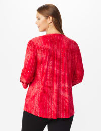 Roz & Ali Red Sequin Tie Dye Popover - Plus - Deep Red - Back
