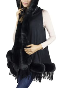 Hooded Vest w/ Faux Mink Border - Black - Back