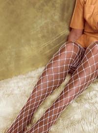 'Caught Up' Large Fishnet Tights Socks - White - Back