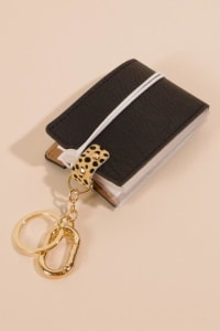 Gold Plated Animal Print Accent Mask Holder Keychain - Black - Back