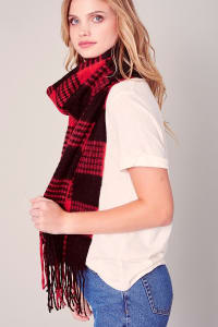 Gingham Checker Soft Scarf with Fringe - Red / Black - Back