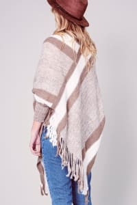 Striped Knitted Fringed Poncho - Khaki - Back