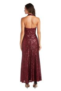 Morgan & Co. Long Stretch Sequin Mock Wrap Dress - Back