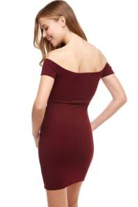 Rib Jersey Off The Shoulder Dress - Burgundy - Back