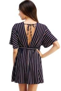 Striped Dolman Sleeves A-Line Dress - Navy - Back