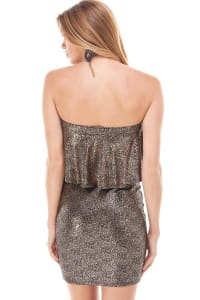 Shiny Textured Flounced Tube Dress - Rose Gold - Back