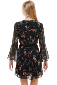 Chiffon Surplice Long Sleeve Dress - Black - Back