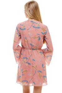 Chiffon Surplice Long Sleeve Dress - Mauve - Back