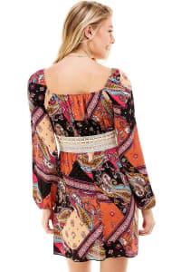 Patchwork Printed Crochet Waist Dress - Pink / Black - Back