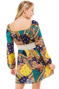 Patchwork Printed Crochet Waist Dress - Yellow / Navy - Back