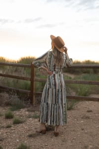 Broken Stripe Wrap  Maxi Dress - Natural Multi - Back