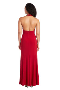 Morgan & Co. Long Gown with Open Back - Red - Back