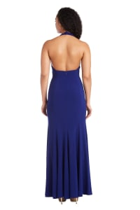 Morgan & Co. Long Gown with Open Back - Royal Blue - Back