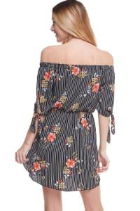 Floral Print Off Shoulder Tie Sleeve Dress - Black / Stripe - Back