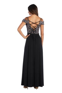 Morgan & Co. Off The Shoulder Lace Bodice - Black / Taupe - Back